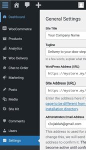 General Setting - Company name / Email & etc.